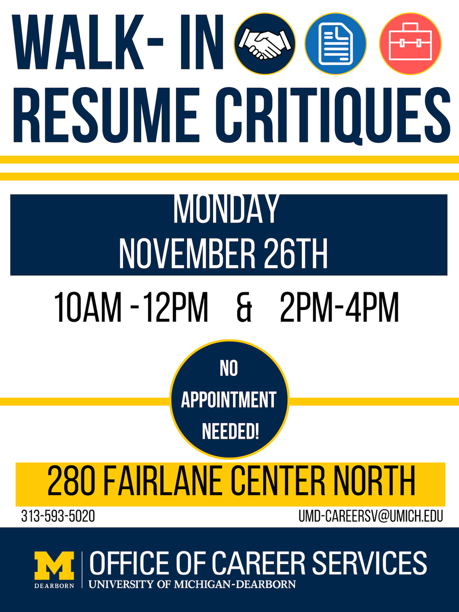 career services on twitter see our flyer for walk in resume critiques on monday