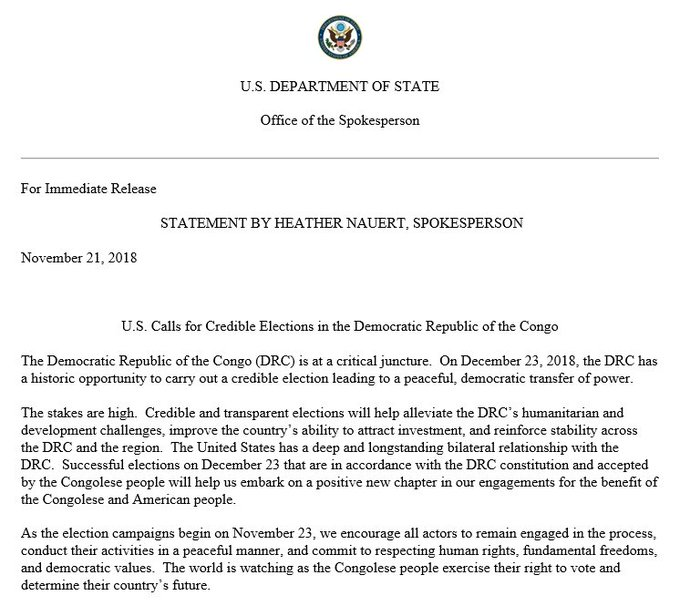 A statement by Spokesperson Heather Nauert on U.S. Calls for Credible Elections in Democratic Republic of the Congo.