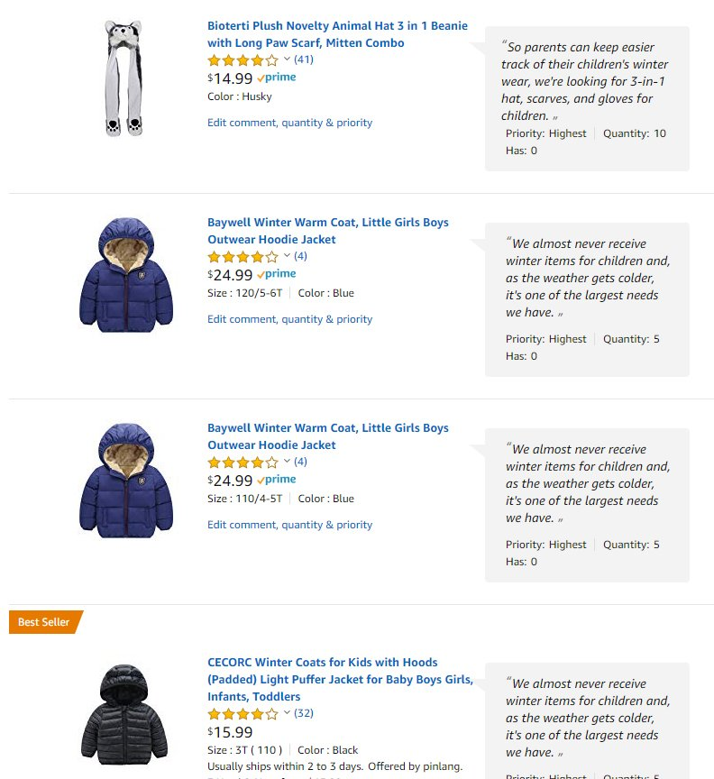 45d58dfe4f5 It s easy to include coats and mittens for little ones with your order.  Shop our  amazon wish list at  http   a.co 50zXxHP  InvestInYouth ...