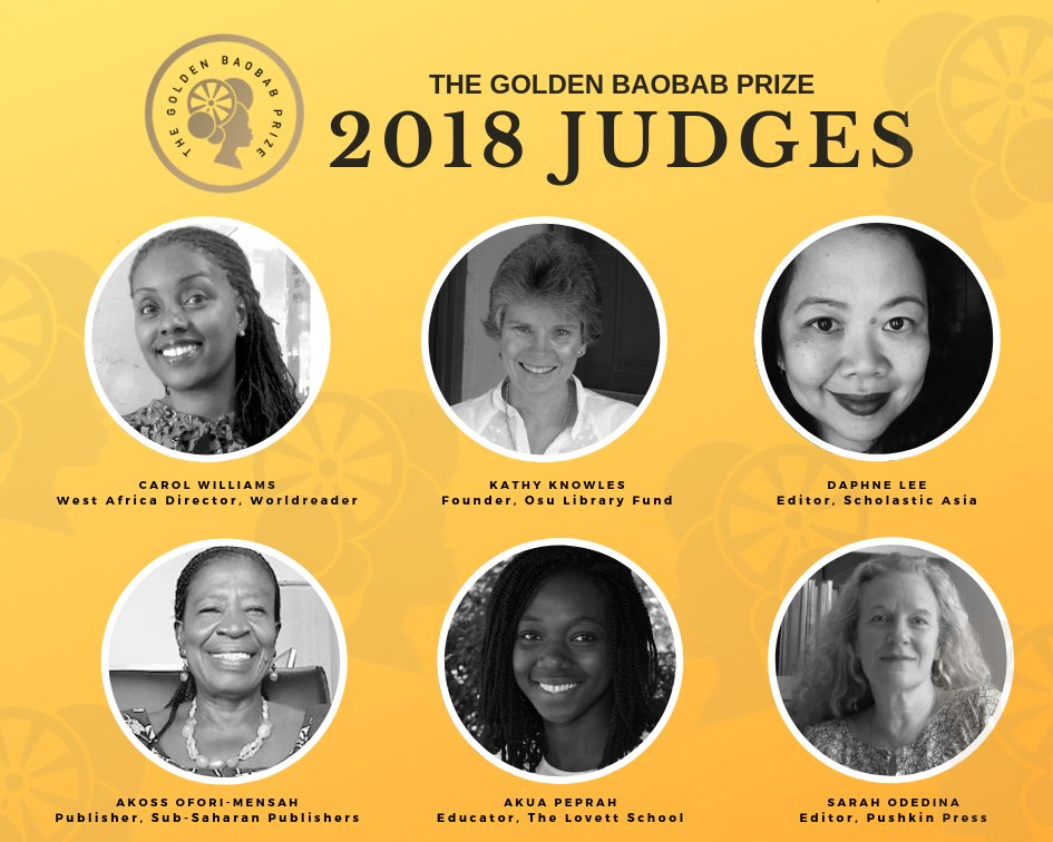 We're excited to announce our 2018 Jury for the #GoldenBaobabPrize! The panel comprises acclaimed children's book publishing and literacy professionals representing 4 continents. From Scholastic Asia to Sub Saharan Publishers Ghana, find out more:  https:// bit.ly/2OStRI1     #kidlit<br>http://pic.twitter.com/Aul52HjFxP