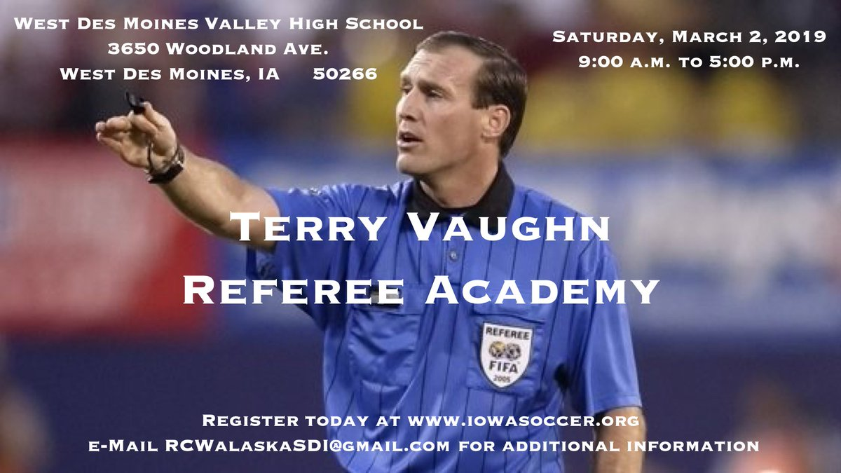 53d9563bd The 2019 Terry Vaughn Referee Academy will be held Saturday