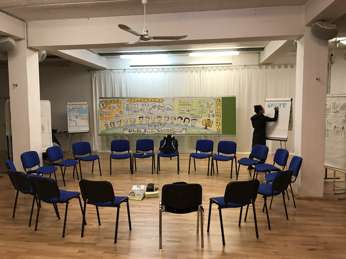 A room that is being prepared, waiting for participants to get #inspired Exactly what is going to happen in 1 week @ XP Days where we will be showing a group of #agile #practitioners how strong #visualization #bikablo can be.Join me & Desirée @14 pm. #bizzuals #inspiredifferently
