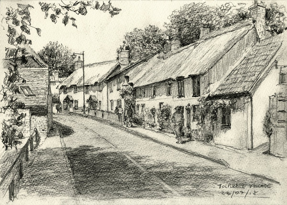 Tolpuddle village and a pencil sketch done during this years festival looking up the hill towards the festival ground a4 sketchbook on saunders waterford