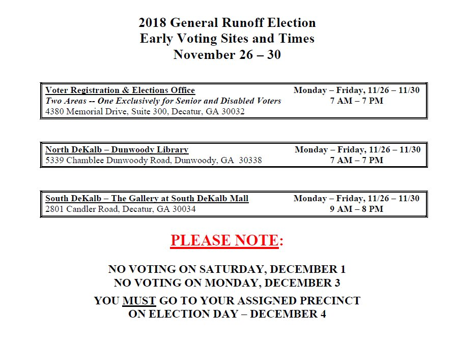 Dekalb County Votes On Twitter Early Voting For The December 4th