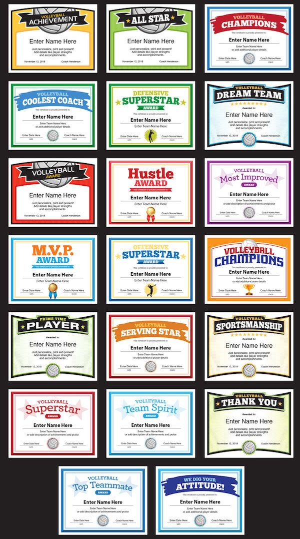Sports Feel Good On Twitter Cool Volleyball Certificates Templates