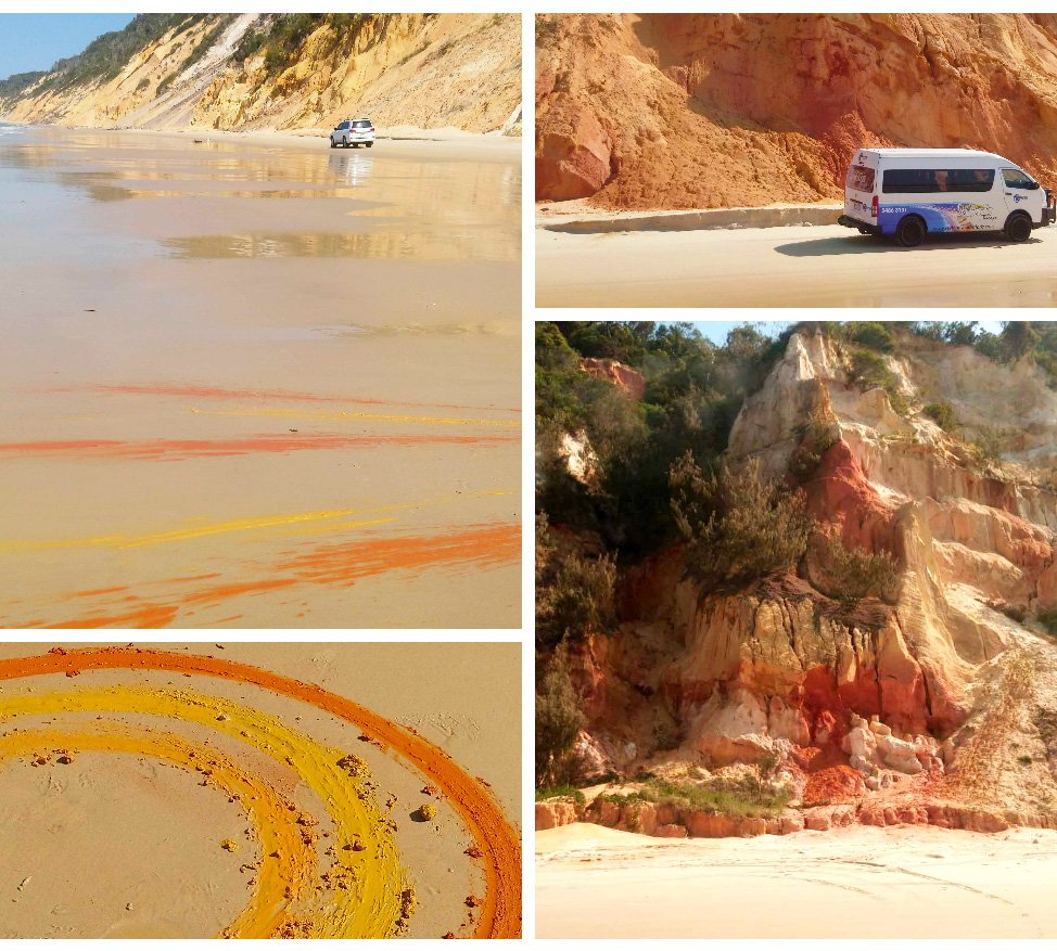 This is the beautiful Rainbow Beach on Aussie's Sunshine Coast. You can pick up the rainbow coloured sand and paint with it! Check out more Sunny Coast fun here - https://t.co/AJYJjtr3tl #sunshinecoast #rainbowbeach #4WDdrive #summerfun https://t.co/ivX8z9OrCR
