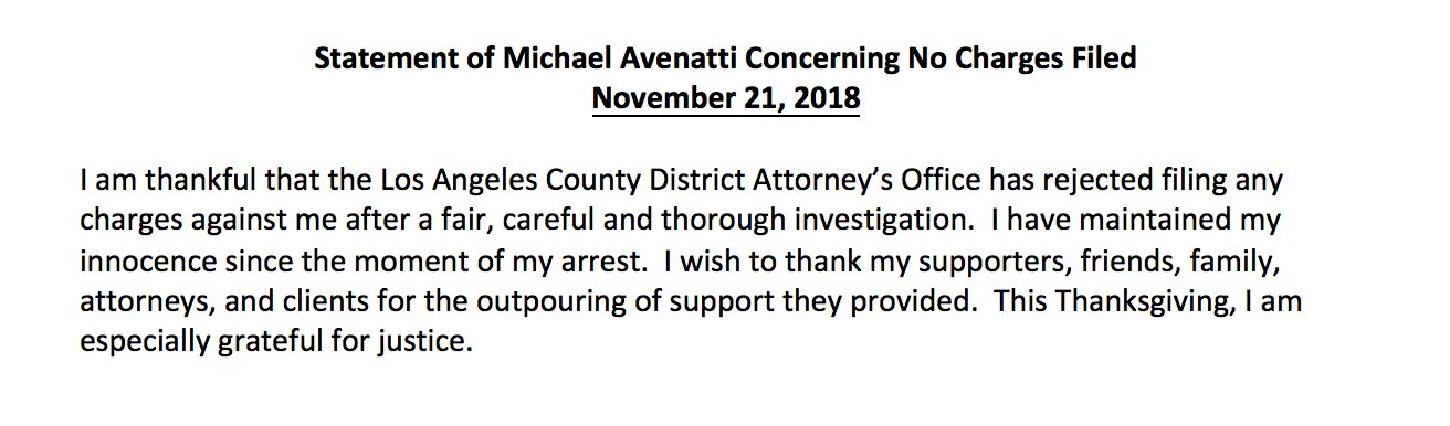 Statement of Michael Avenatti
