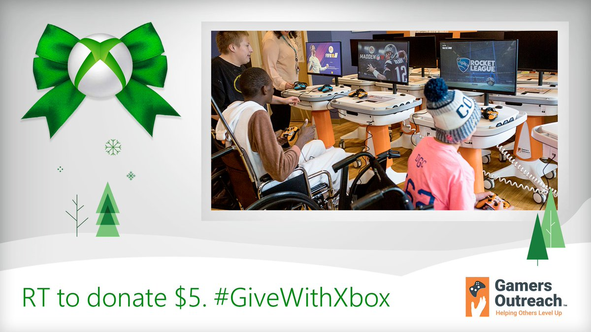 RT to donate $5 in Xbox products as part of #GiveWithXbox! 🎁 Help @GamersOutreach make hospital stays better for kids through the power of video games. Learn more: https://xbx.lv/2zlmUu4