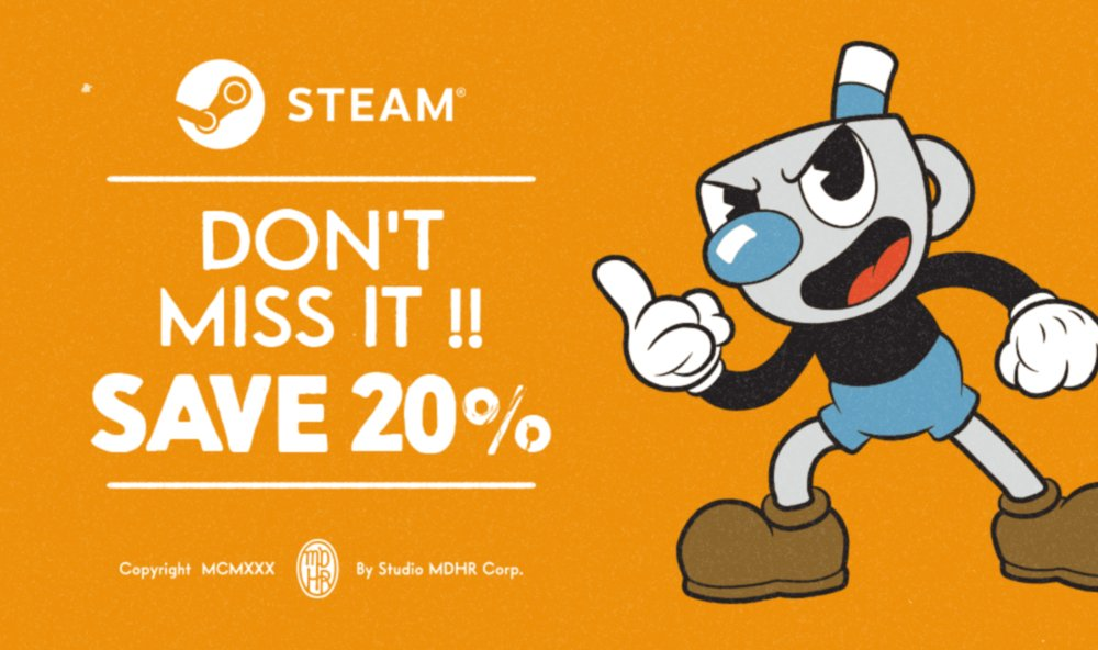 By Golly! Cuphead is 20% off during the Steam Autumn sale! buff.ly/2yvydls