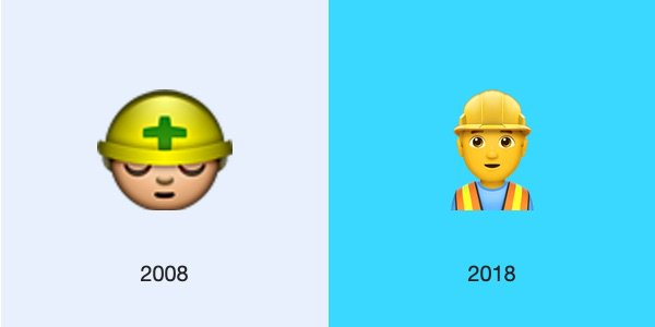 👷 Construction Worker no longer displays the green plus / cross on the helmet shown in 2008. This is used in Japan as a safety reminder in construction zones #2008v2018 https://emojipedia.org/construction-worker/…