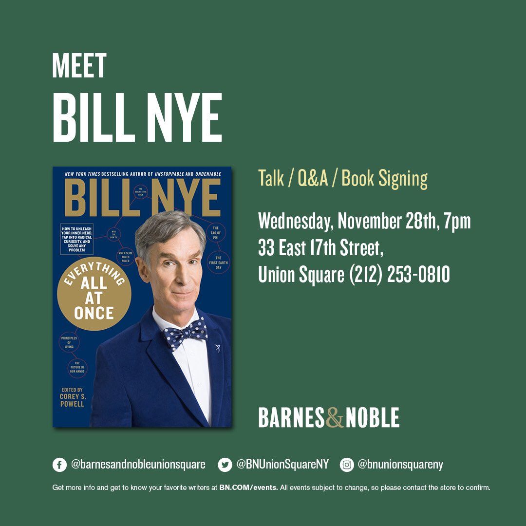 New York - join me next week at Barnes & Noble Union Square. It'll be big fun! My pal @coreyspowell will be there too. @BNBuzz