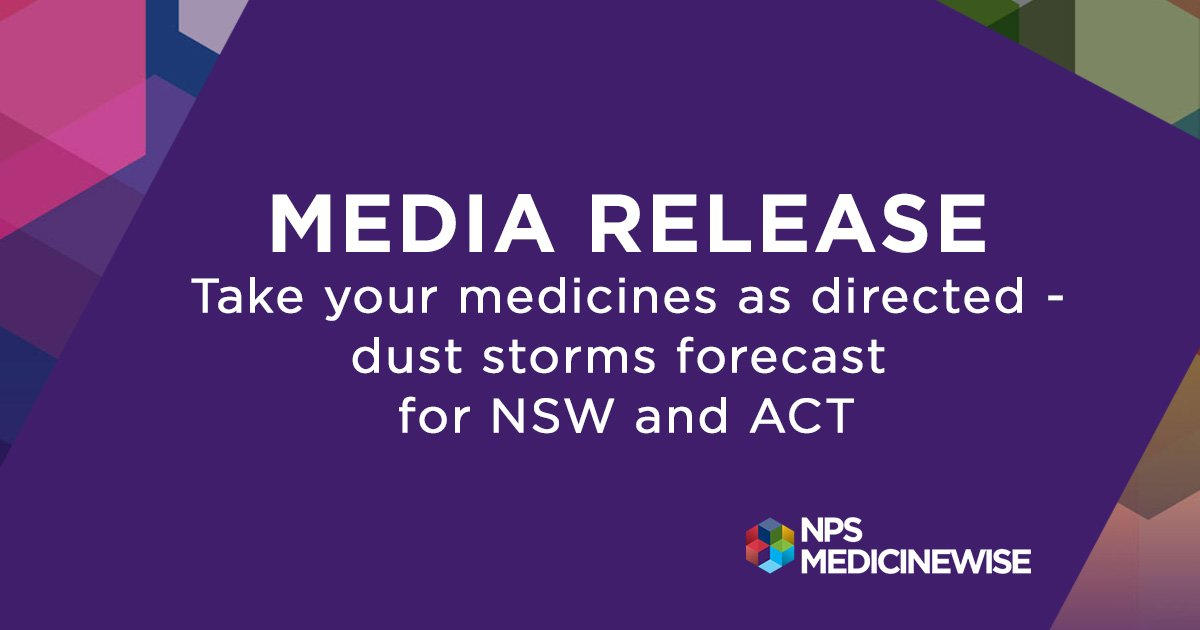 MEDIA RELEASE:  http://bit.ly/duststormadvice  With dust storms forecast for parts of NSW and the ACT today, we advise people with heart or breathing conditions to follow advice from their doctor and from @NSWHealth,  to limit time spent outdoors and avoid vigorous exercise.