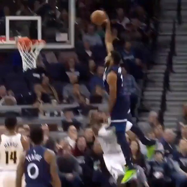 Karl-Anthony Towns climbs the ladder and stuffs it home for tonight's #KiaTopPlay! #AllEyesNorth