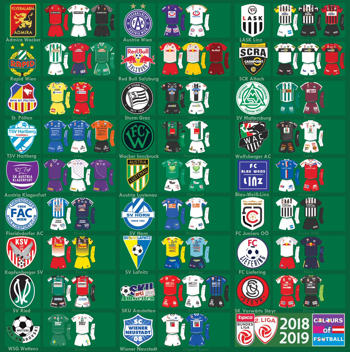 Colours Of Football On Twitter Austria Bundesliga And 2 Liga 2018 2019