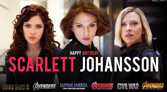 Wishing a very happy 34th birthday to the MCU\s Black Widow, actress Scarlett Johansson