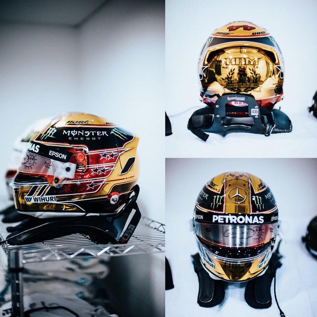 Custom gold helmet. What do you guys think? RT=🔥 Like=😍 @BellRacingEU 🙏🏾 @MercedesAMGF1