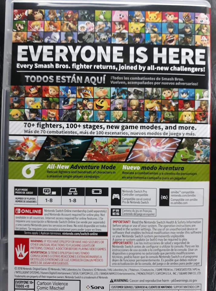 first look at the back of the super smash bros ultimate box