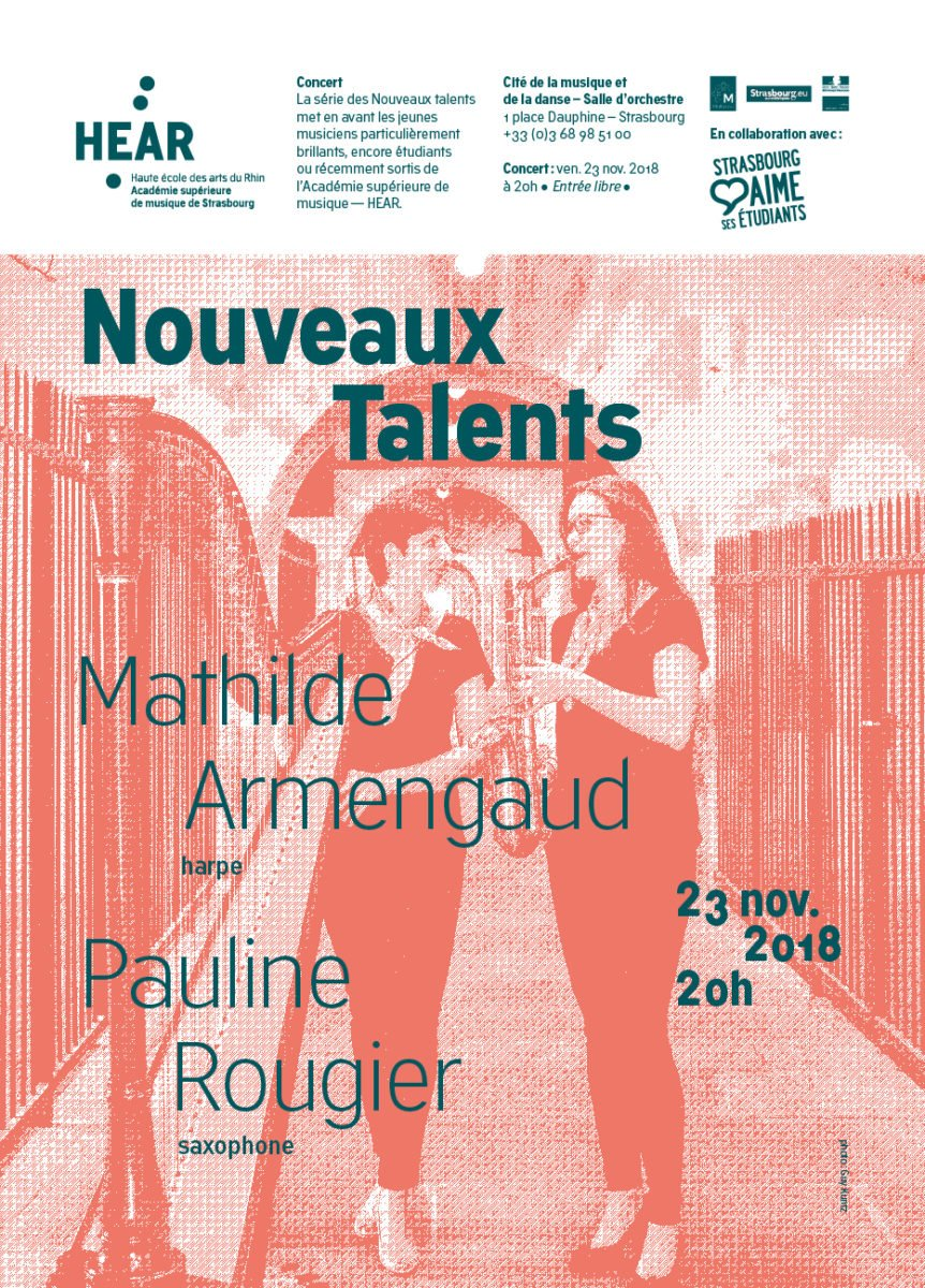 [NOUVEAUX TALENTS🎶] 🤩ce vendredi duo Pauline Rougier/saxophone 🎷& Mathilde Armengaud/harpe de l'Académie supérieure de #musique de #Strasbourg-HEAR à la Cité de la musique et de la danse rdv à partir de 19h30 concert GRATUIT (ds limite places dispo) https://t.co/mxhJMEkjJf https://t.co/RSn7jlE8Aq
