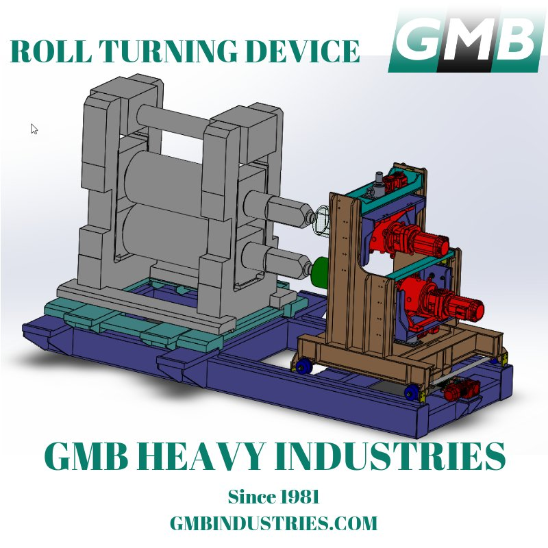 Roll Turning Device designed and manufactured for a North American Steel Mill by #GMBHeavyIndustries. https://buff.ly/2Ojc90Y #Rollingmill #millstand #steelmill #turningdevice #Rollturning #steelmilldesign #equipmentdesign #engineeringdesign #continuousCasting