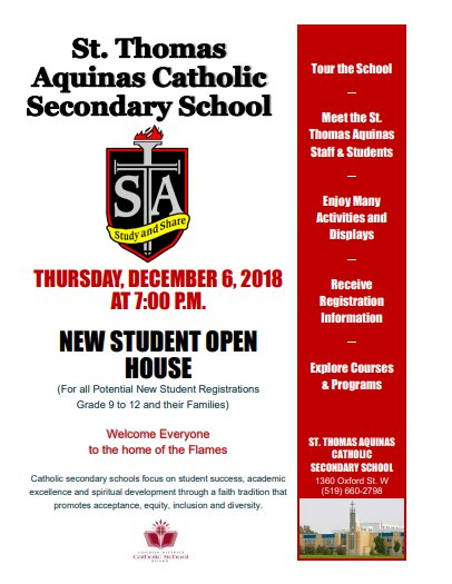 picture regarding Welcome to Our Open House Printable identified as St. Thomas Aquinas Secondary Faculty - St. Thomas Aquinas