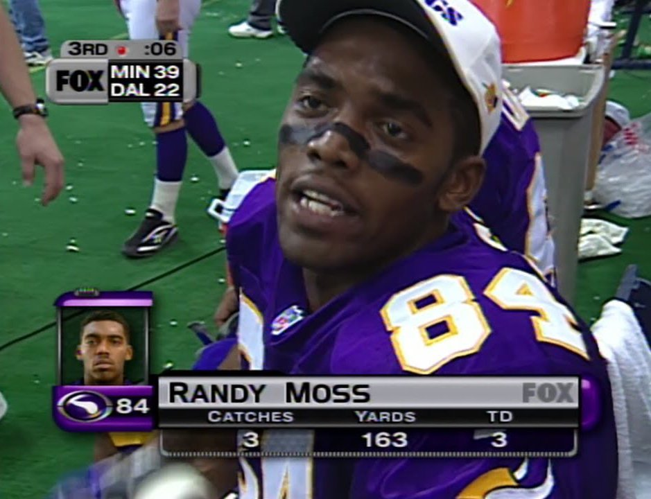 20 years ago, a rookie Randy Moss absolutely demolished the Cowboys on Thanksgiving.  Iconic statline.