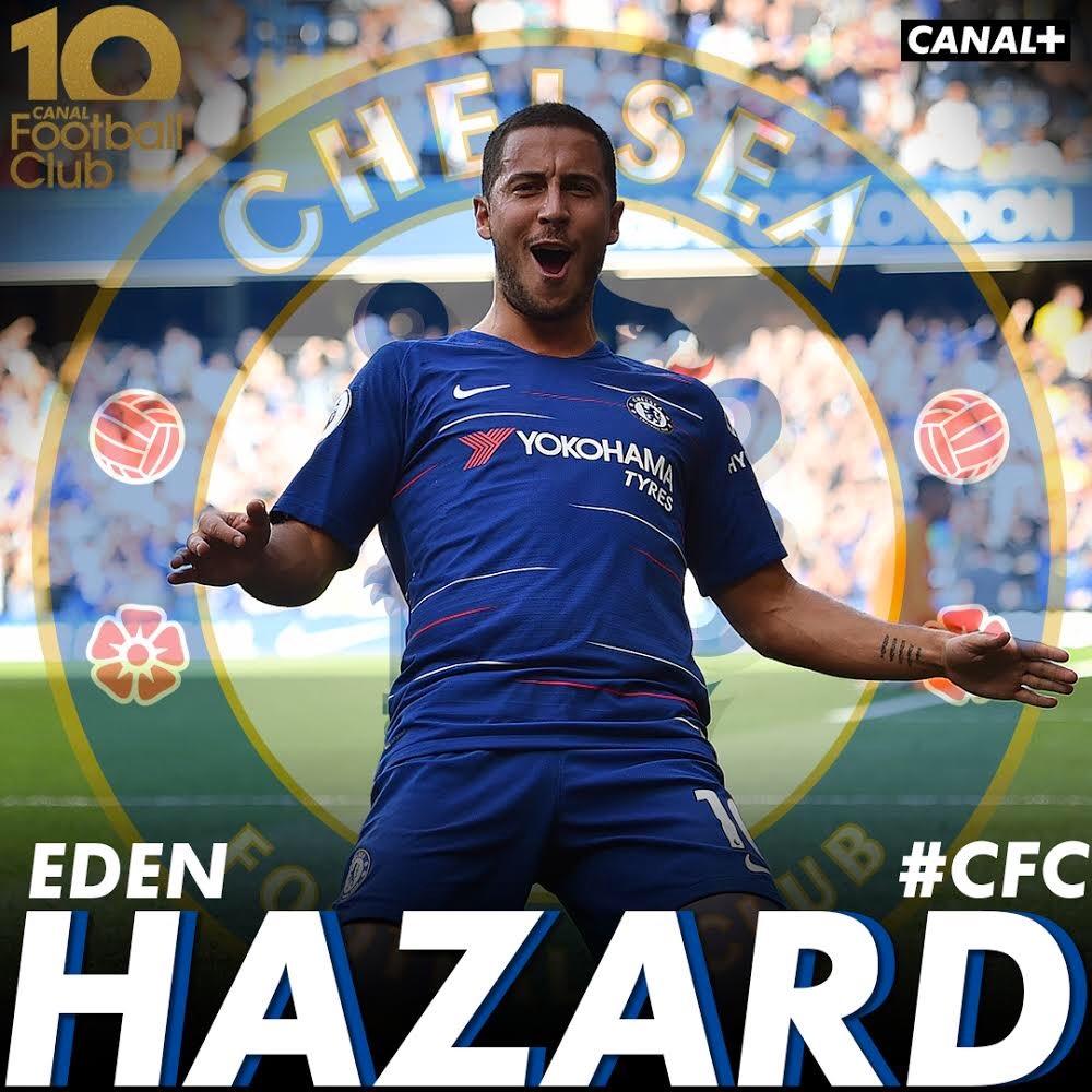 . @hazardeden10 sera notre invité exceptionnel dans le #CFC ce dimanche sur @canalplus ! 🔵⚪️ #10AnsCFC