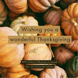 Wishing you joy, safe travels, and great conversation around the table.  We are grateful for you: our students, faculty, staff, alumni, friends, and supporters! #HappyThanksgiving #bizdeacs https://t.co/Xw6wSjHb1n