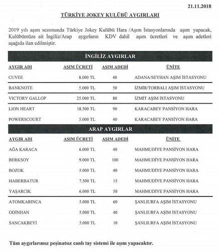 2019 yılı TJK aygır aşım ücretleri