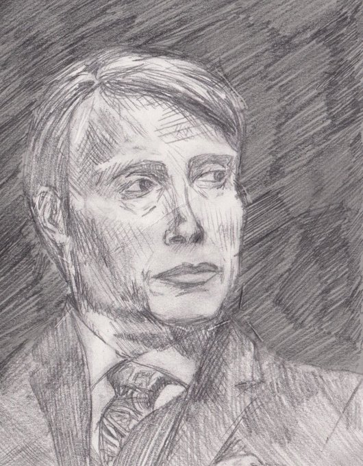 I drew a crappy sketch of my sweetheart happy birthday mads mikkelsen, I love you!