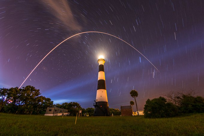 Stars above lighthouse