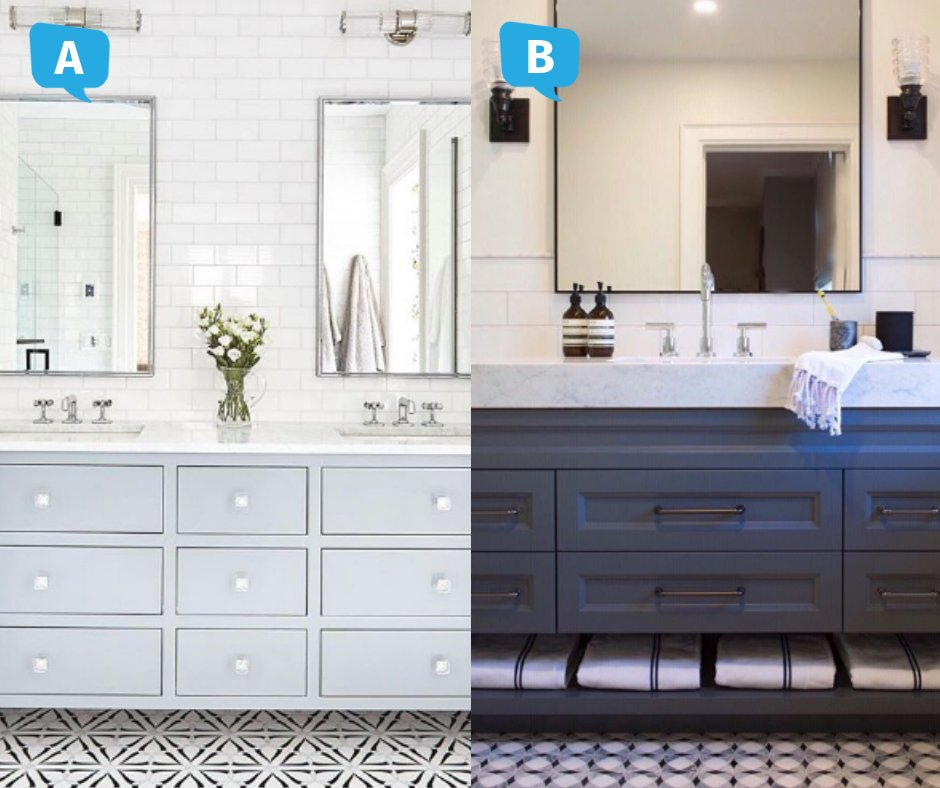 The question is - which one is your favourite? Bathroom on the right courtesy of Shauna Walton Design, bathroom on the left courtesy of ...