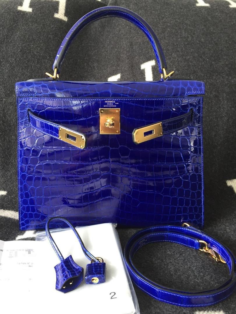 f39e55a315 Hermes Kelly 28 Blue Electric Gold Hardware shiny skin nilo  handbags   handmade  crocobag  crocodile  exoticskin  exoticleather  k28crooc  k28   hermescroco ...
