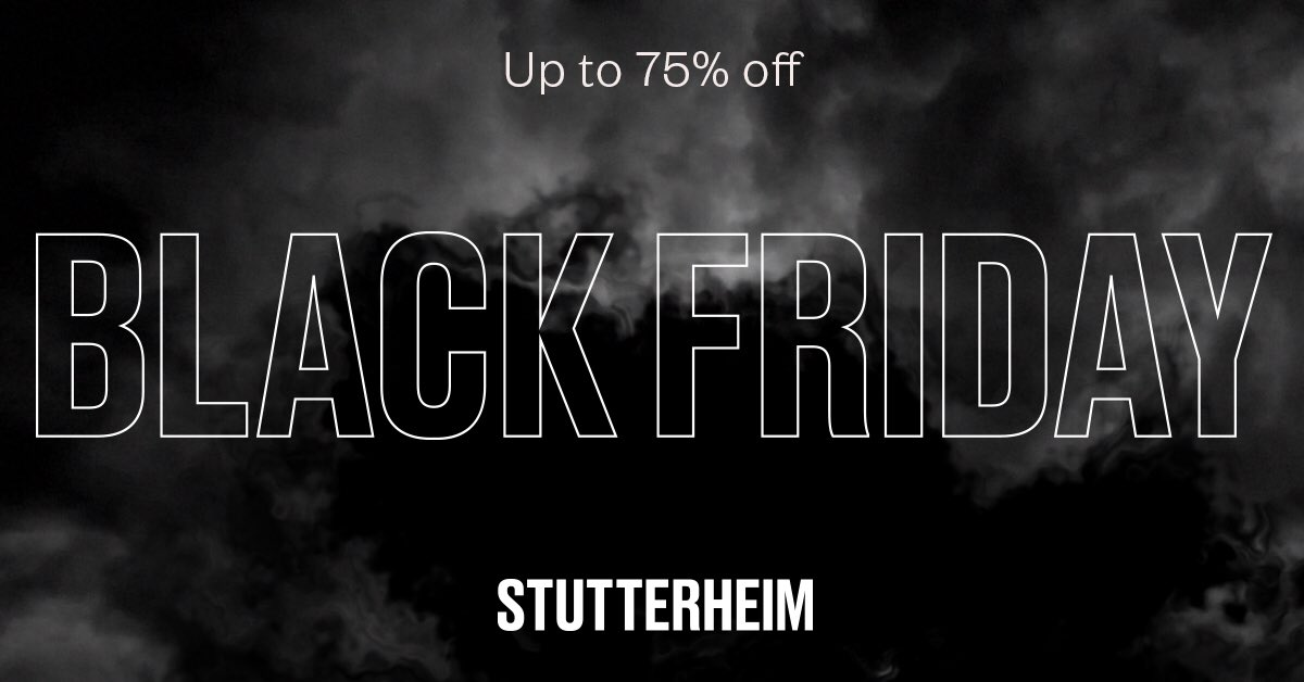 Storm clouds have been building up until today. Shop iconic rainwear at up to 75% off in stores and on http://stutterheim.com , today and all weekend long.   But don't wait too long – stock levels are as fleeting as the sunlight over Stockholm through November. #blackfriday