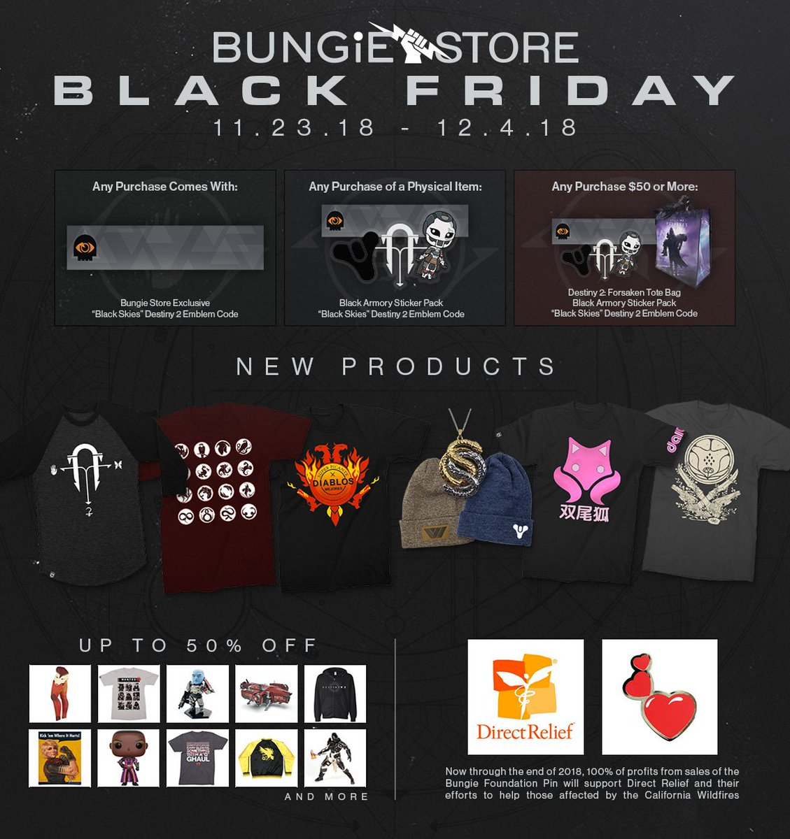 e8ff7d5400cc 100% of profits from Bungie Foundation pin support CA wildfire  reliefpic.twitter.com ZsaBYF3TRT