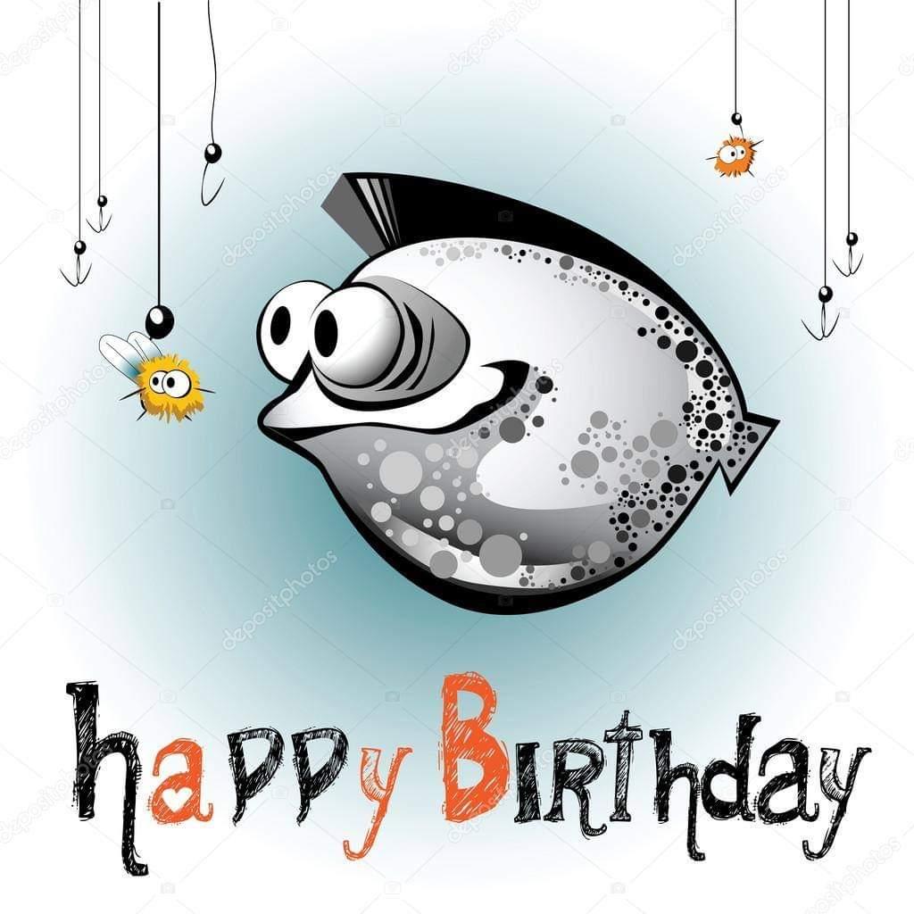 Открытки день рождения рыба, февраля шаблоном