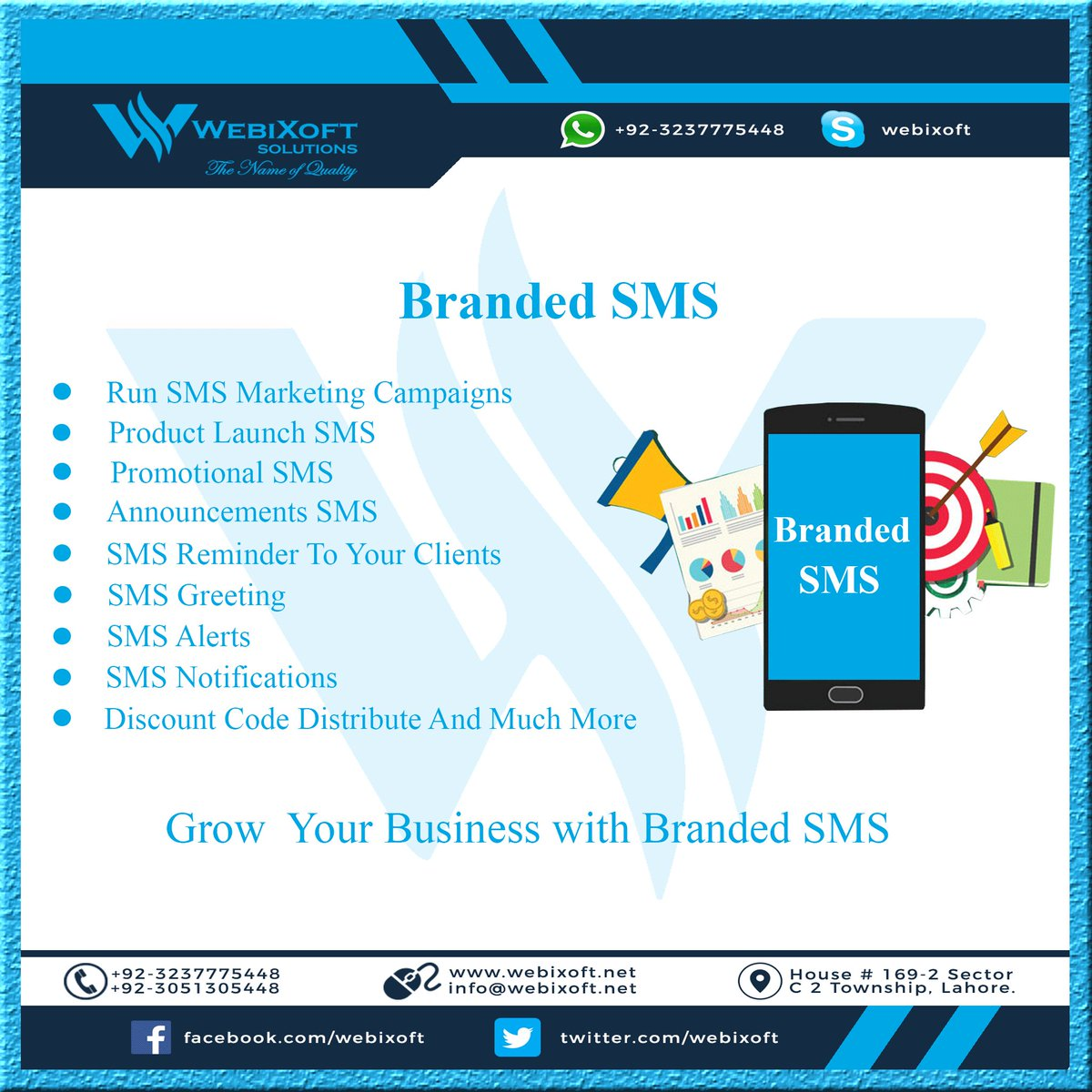 Branded SMS will be sent with your business name. It is the most effective way of marketing and reaches your prospective clients. #sms #smsmarketing #brandedsms #transactionalsms #lahore #Pakistan #smsalert #promotionalsms #bulksms #webixoft #smsapi #webixoftsolutions<br>http://pic.twitter.com/Iqljm38xpk