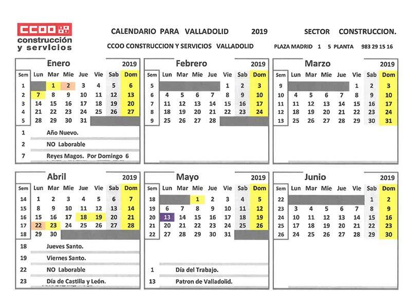 Calendario Laboral Valladolid.Ccoo Const Y Serv On Twitter Calendario Laboral Del Sector De