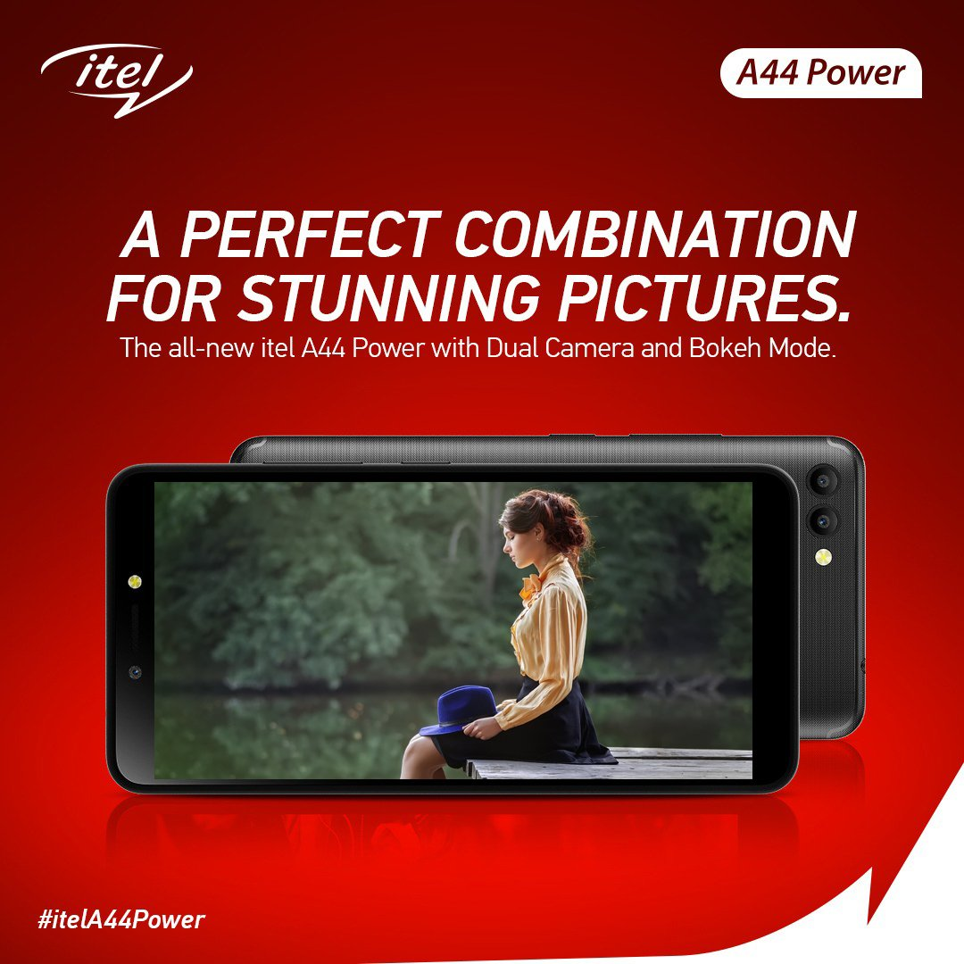 Get that picture perfect professional shot with itel A44 Power that comes with 5MP Dual Rear Camera with Bokeh. #itelA44Power #itelcelebrates4cr
