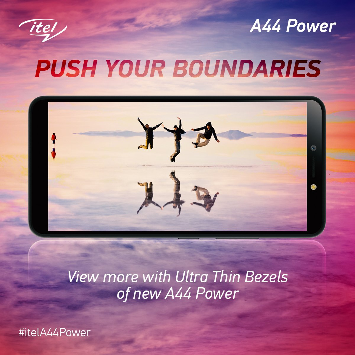 With the ultra-thin bezels of the new itel A44 Power, enjoy a high-quality viewing experience like never before! #itelA44Power #itelcelebrates4cr