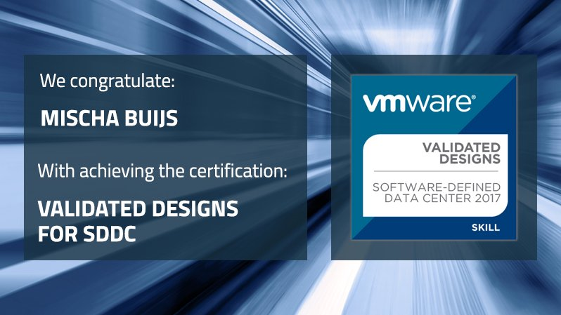 Itq On Twitter We Congratulate Mischa Buijs On Achieving His Vmware Validated Designs For Software Defined Data Center 2017 Certification He Has Satisfied All The Requirements Of The Validated Designs For Sddc