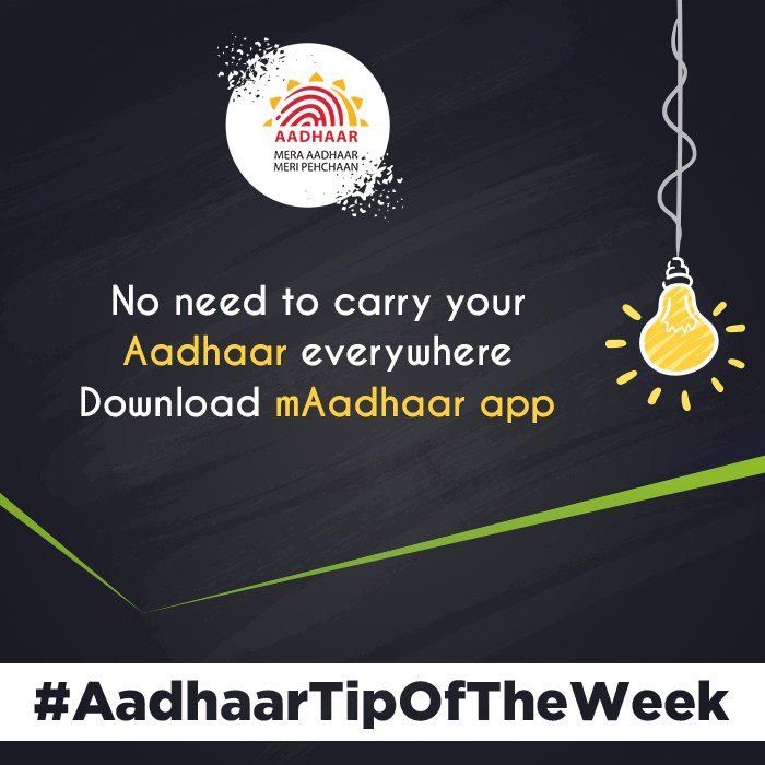 Download #mAadhaar and carry your Aadhaar in your Smartphone. Link:  https:// play.google.com/store/apps/det ails?id=in.gov.uidai.mAadhaarPlus&amp;hl=en_IN &nbsp; …  To read more about mAadhaar visit:  https:// uidai.gov.in/your-aadhaar/f aqs.html#maadhaar-faq &nbsp; …  #AadhaarTipOfTheWeek <br>http://pic.twitter.com/07MuvM6HUn