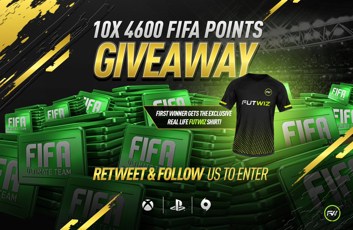 Time for a #BlackFriday / #CyberMonday giveaway!  Not only are we giving away 10 x 4600 #FIFA19 points, the first winner drawn also wins a real life #TeamFUTWIZ shirt (Size M or L)!  RT & follow to enter, 10 winners drawn at random on Mon 26th Nov, points available on XB1/PS4/PC
