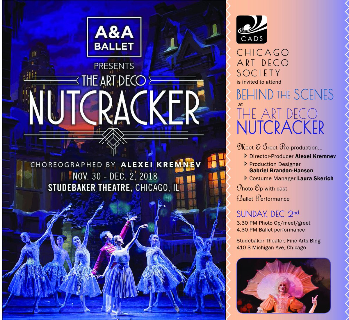 Dont forget, Chicago Art Deco Society members can register for a behind the scenes meet and greet and buy tickets to a performance of the Art Deco Nutcracker on December 2! You must register for the Behind the Scenes by this Sunday, November 25! Chicagodeco.org/events for more.