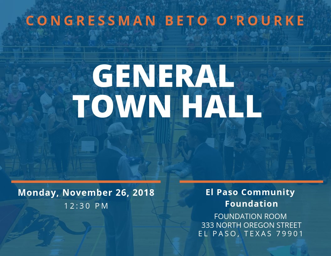 Our November town hall is just around the corner - come share your thoughts with me at the El Paso Community Foundation at 12:30 p.m.   More info about the event here: https://www.facebook.com/events/202960727308164/…