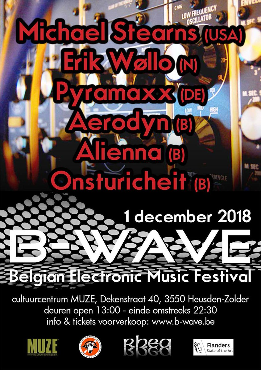 RT @chilloutnews Meet us at B-Wave Festival in Belgium on December 1st. https://t.co/C62LpIASuk#sounduniversityeurope #chilloutmusicexperience #ambient #michaelstearns #erikwollo