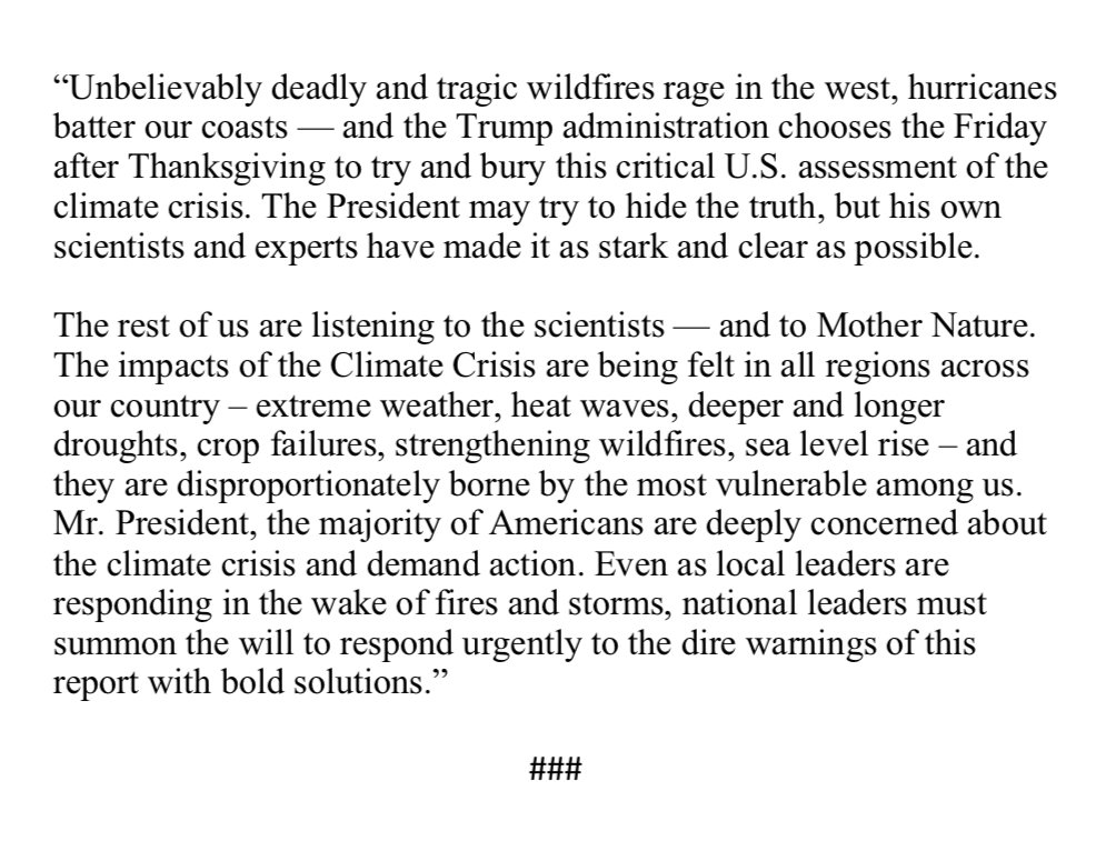 My statement on the National Climate Assessment released today: bit.ly/2S7mBtT