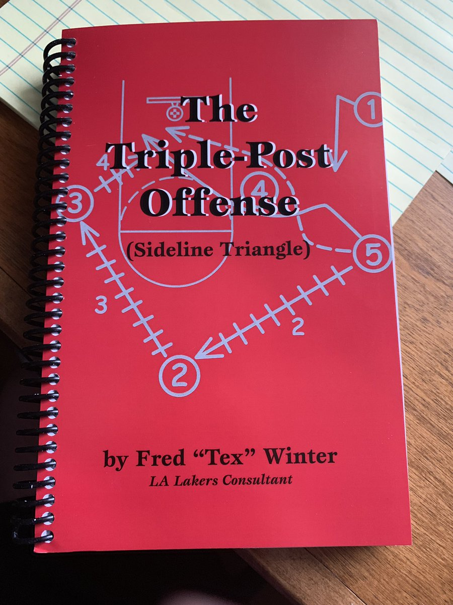 Excited to finally get into Tex Winter's book about the triangle offense.   The legendary coach not only breaks down theory, but talks about drills, development, organization, psychology and philosophy of coaching.  It may be basketball, but it has similarities to positional play <br>http://pic.twitter.com/o9ZdLedvuV