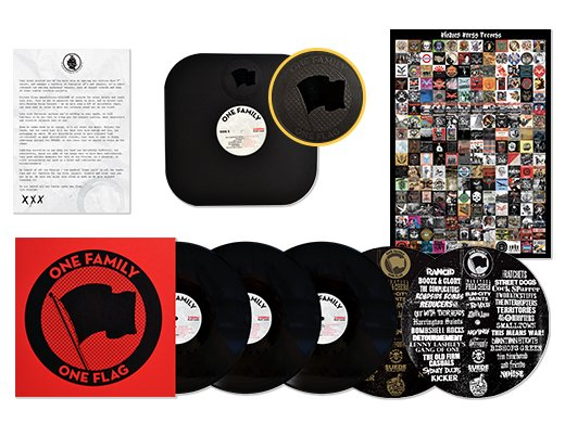 .@piratespress Records celebrates their milestone 200th release, ONE FAMILY ONE FLAG! A deluxe 3xLP punk comp w/34 artists (@Rancid, @cocksparrer, @Interruptweets, @OldFirmCasuals, & more!), this thing looks as impressive as it sounds! Get it Black Friday! http://www.smarturl.it/ROTW