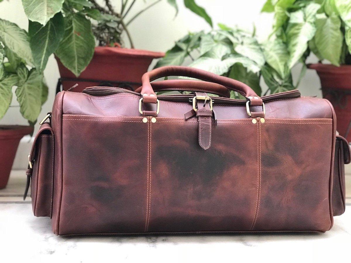 99d606946d94 ... shop  Zakara Hunter Chocolate Brown Leather Weekend Bag