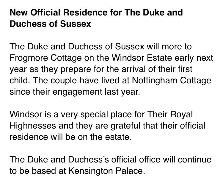 Harry and Meghan are moving to Windsor...